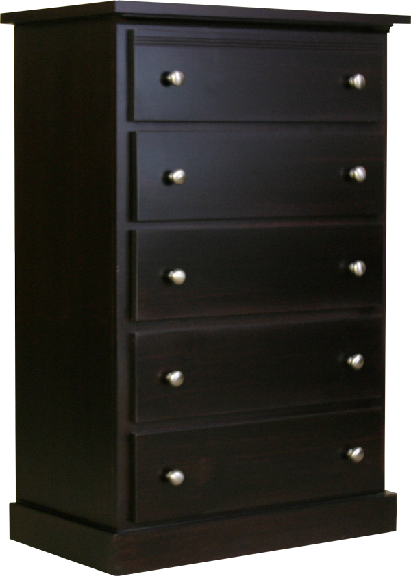 Pine chest with drawers dark stained
