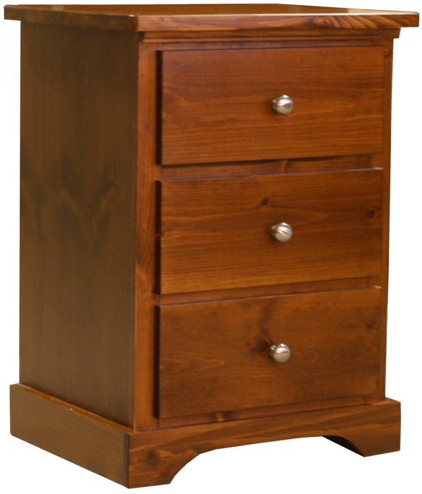 Pine night stand with 3 drawers