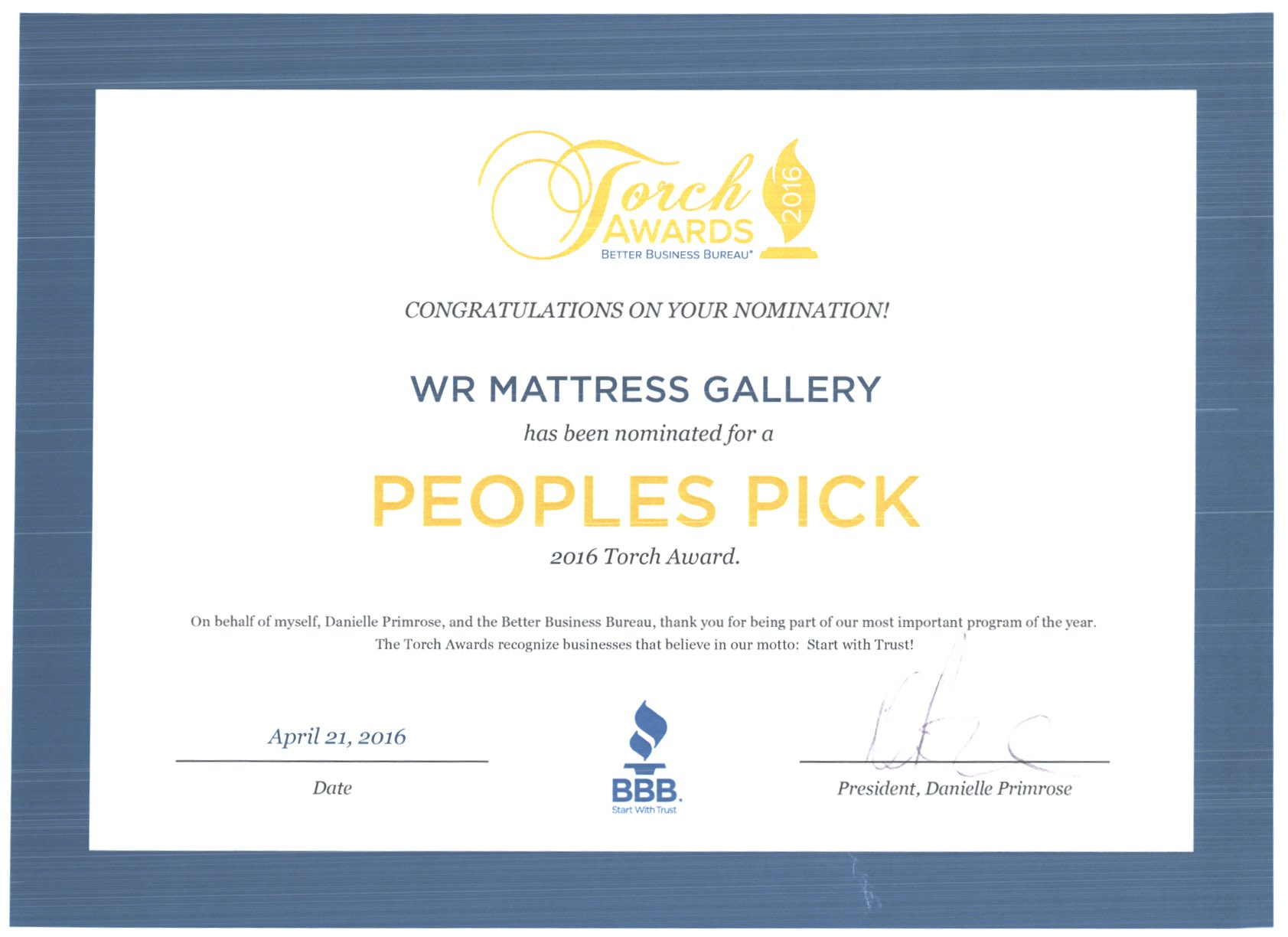 2015 people's pick award wr mattress